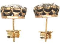 19th Century 14ct Gold Rose Diamond Cluster Earrings