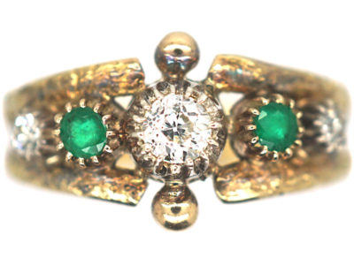 Victorian 18ct Gold Ring set with Emerald & Diamonds