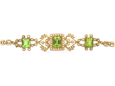 Edwardian 15ct Gold, Peridot & Natural Split Pearl Bracelet