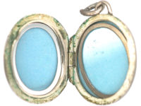 Oval Silver Locket with Tulip Motif
