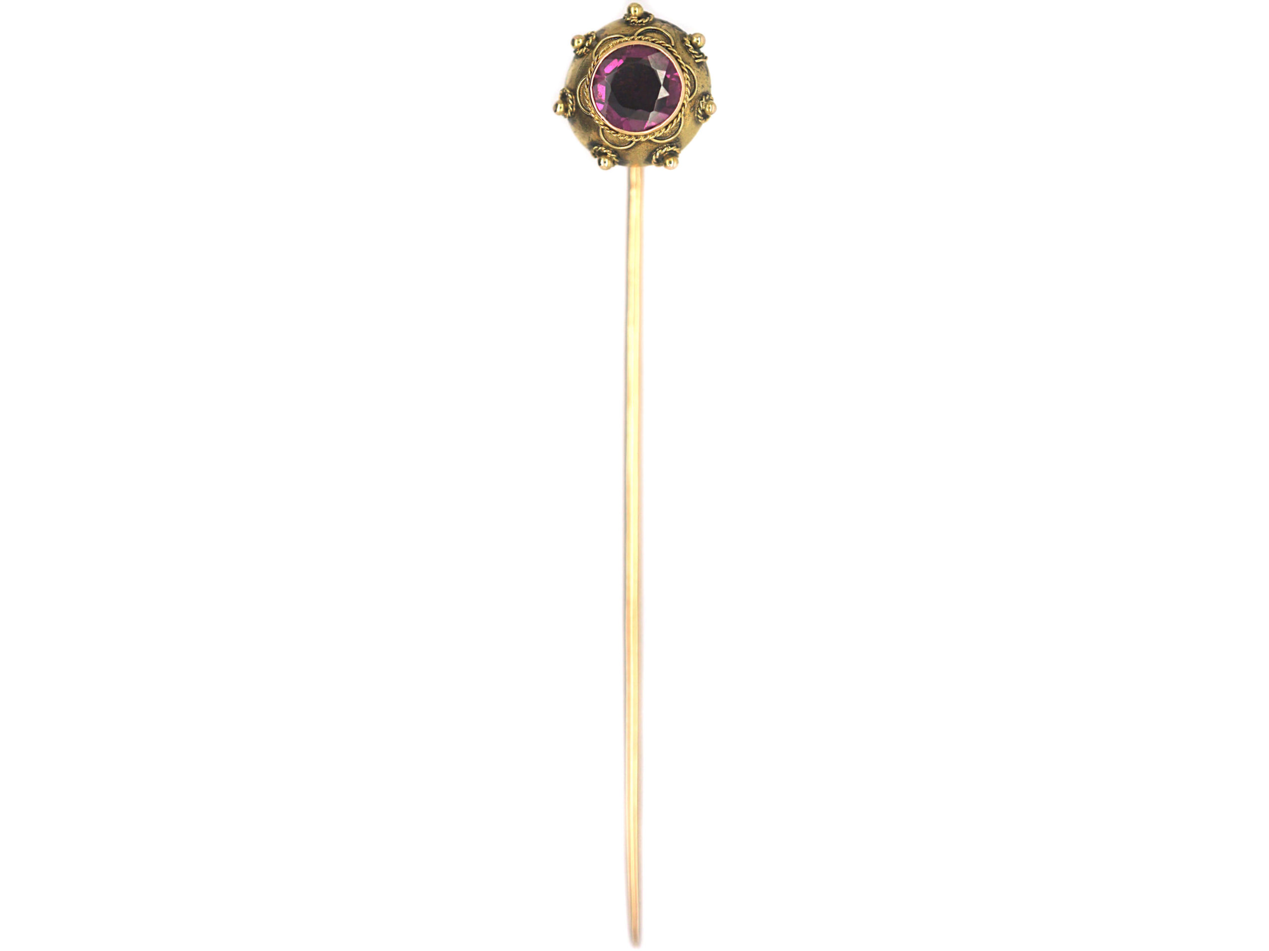 Victorian 15ct Gold Etruscan Style Tie Pin set with a Garnet