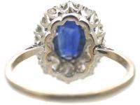 Platinum, Sapphire & Diamond Oval Cluster Ring