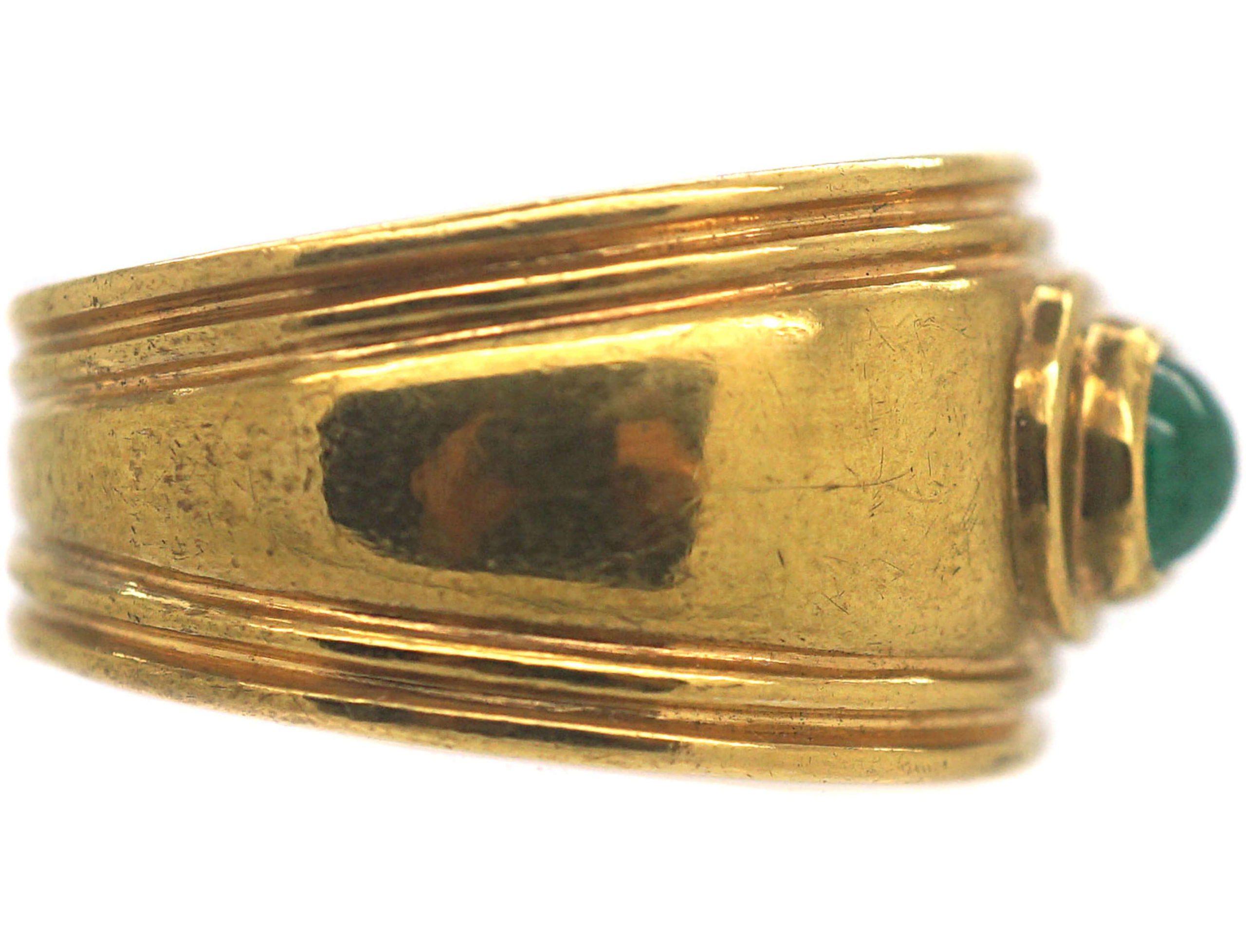 Vintage 9ct Gold & Cabochon Emerald Wide Ring