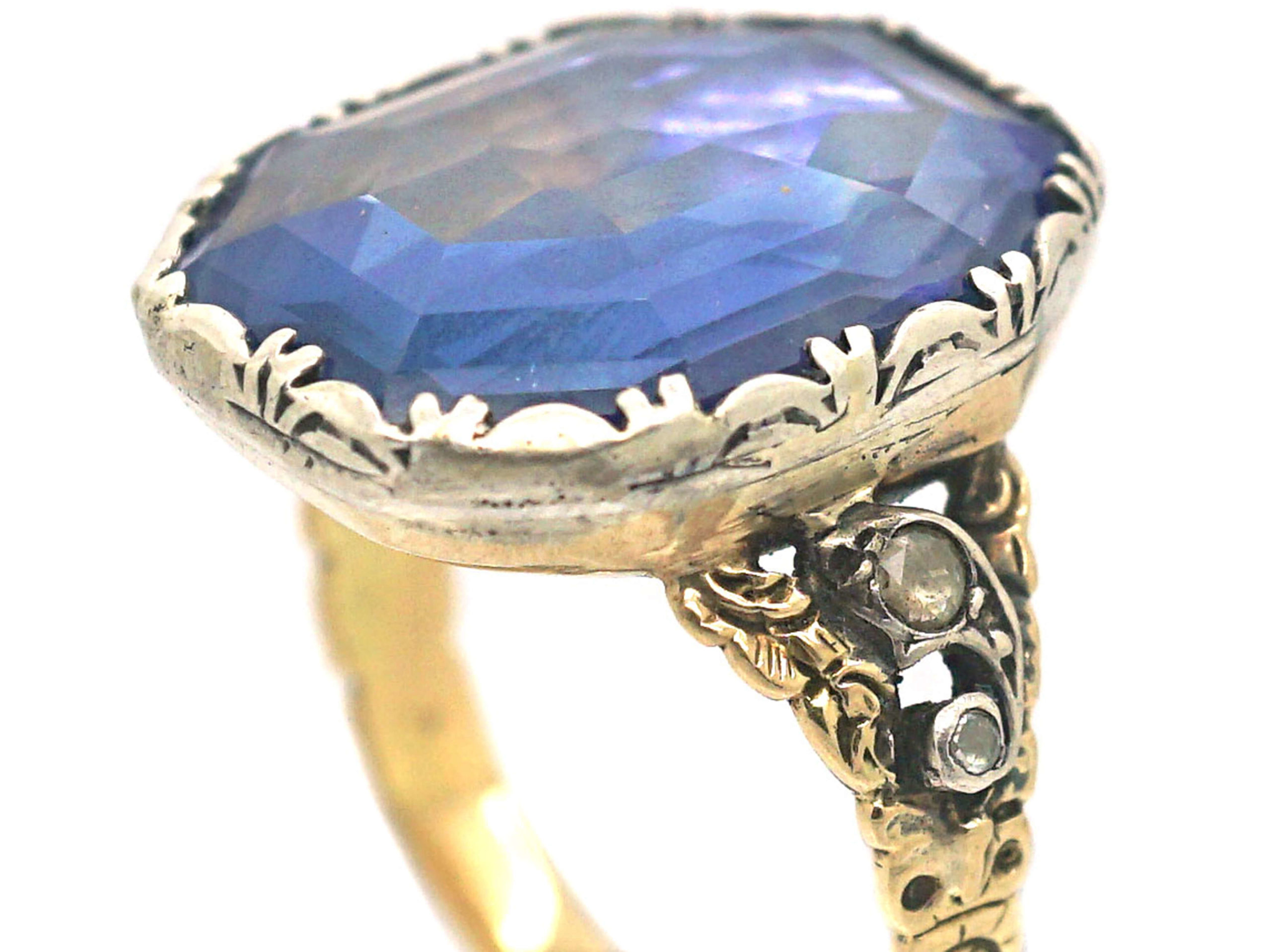 15ct Gold & Silver Georgian Ring set with a Large Sapphire