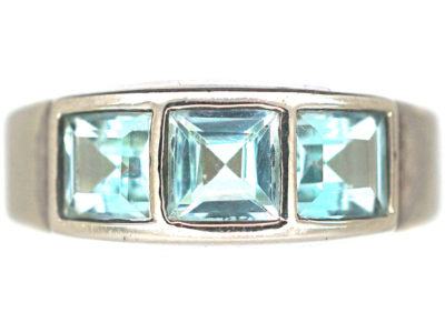 Silver & Light Blue Aquamarine Ring