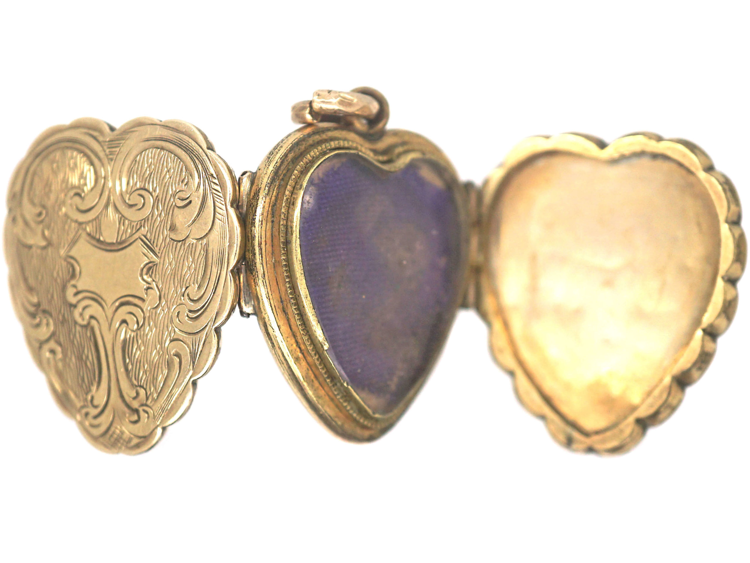 Victorian 9ct Gold Back & Front Three Part Heart shaped Locket