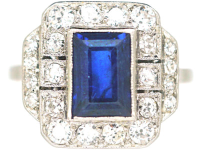 Art Deco Platinum, Sapphire & Diamond Rectangular Ring