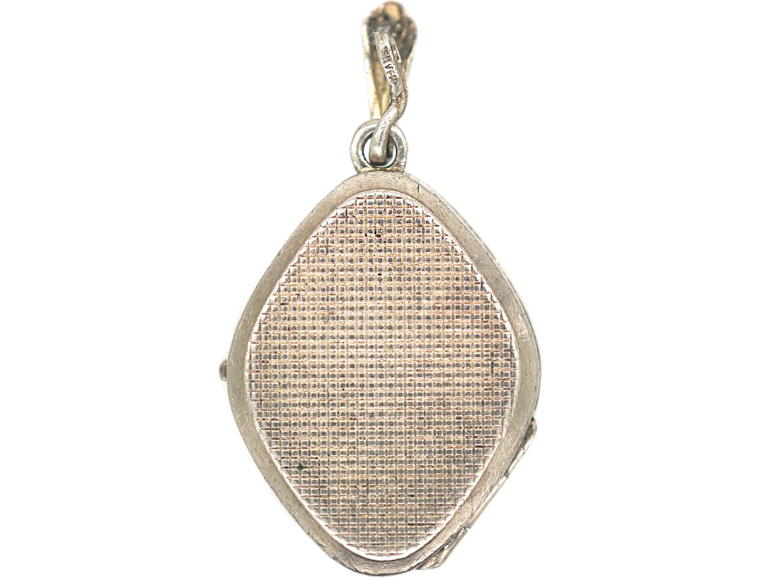 Silver Diamond Shaped Locket