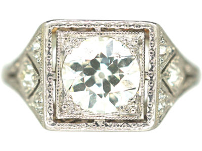 Art Deco 14ct White Gold & Platinum, Square Diamond Ring with Diamond Set Shoulders
