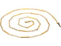Edwardian 15ct Gold Baton & Trace Link Chain