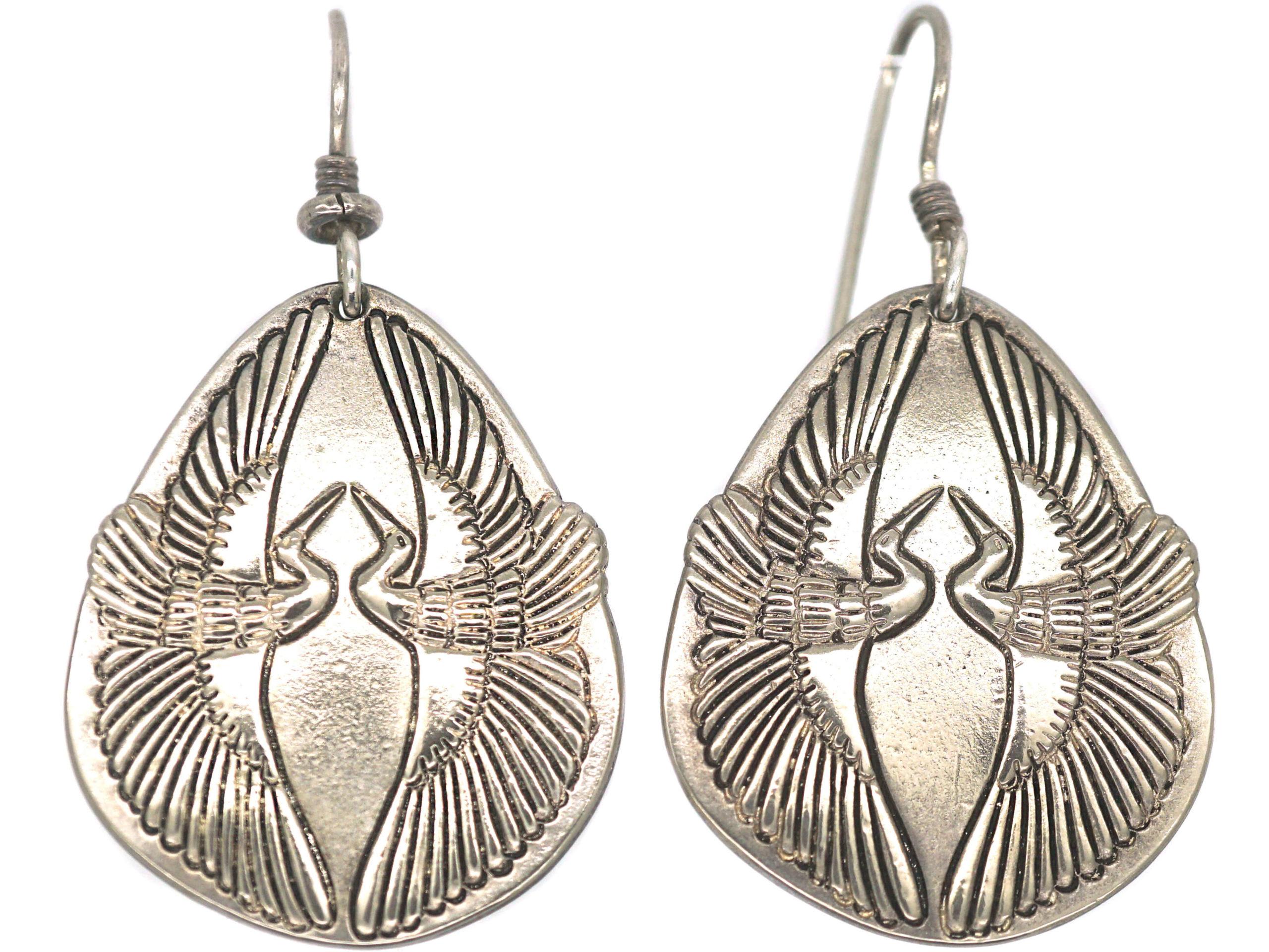 Vintage Silver Bird Earrings by Laurel Burch