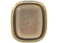 Georgian 15ct Gold Seal with Chalcedony Intaglio of Lion Rampant with Earl's Coronet
