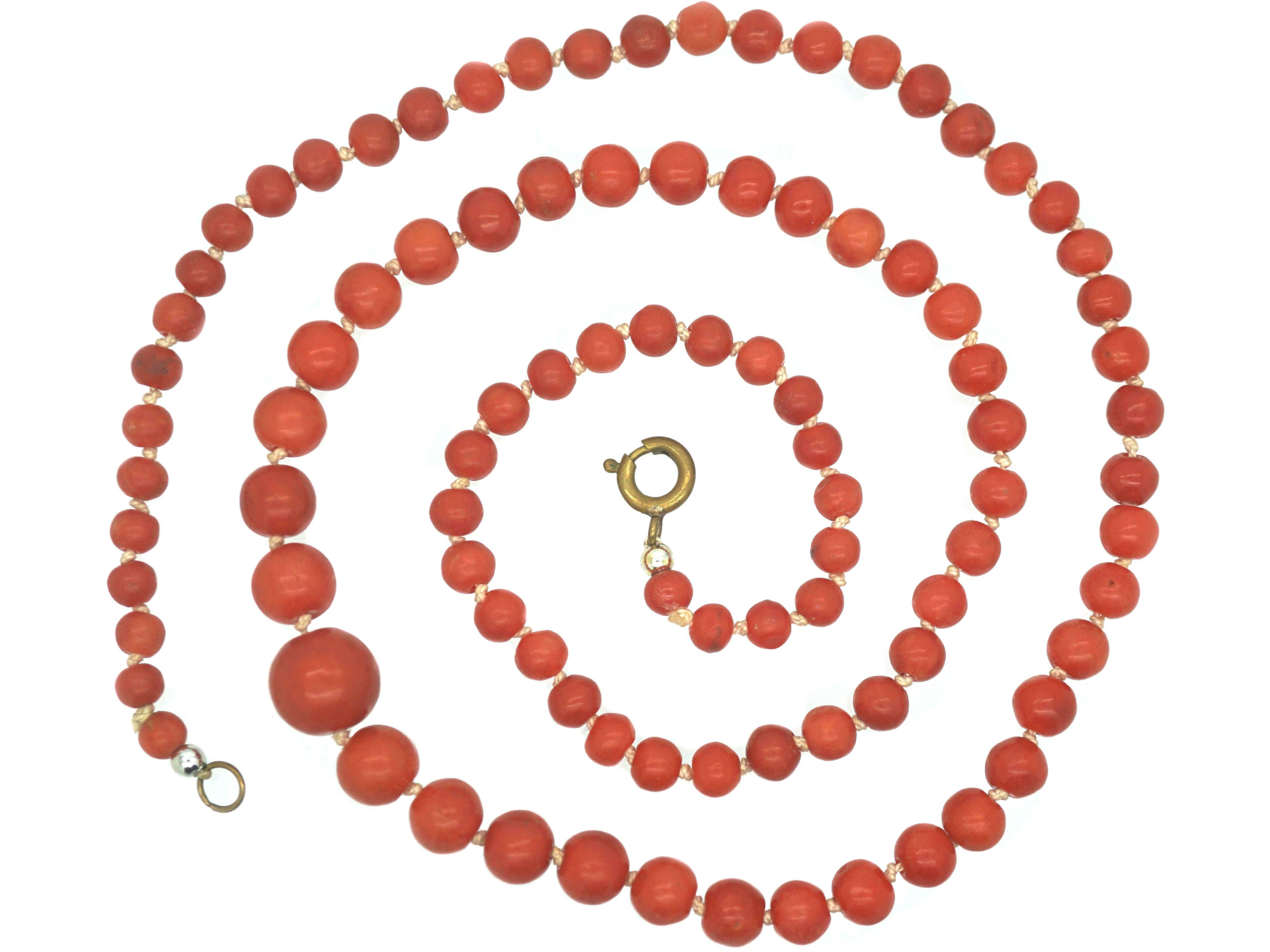 Victorian Natural Coral Strand of Graduated Beads
