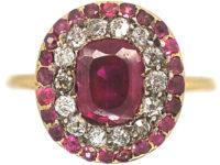 Georgian Ruby & Diamond Oval Cluster Ring