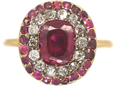 Georgian Ruby & Diamond Oval Cluster Ring