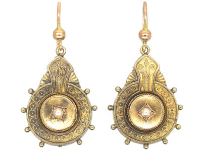 Victorian 15ct Gold Drop Earrings set with Natural Split Pearls