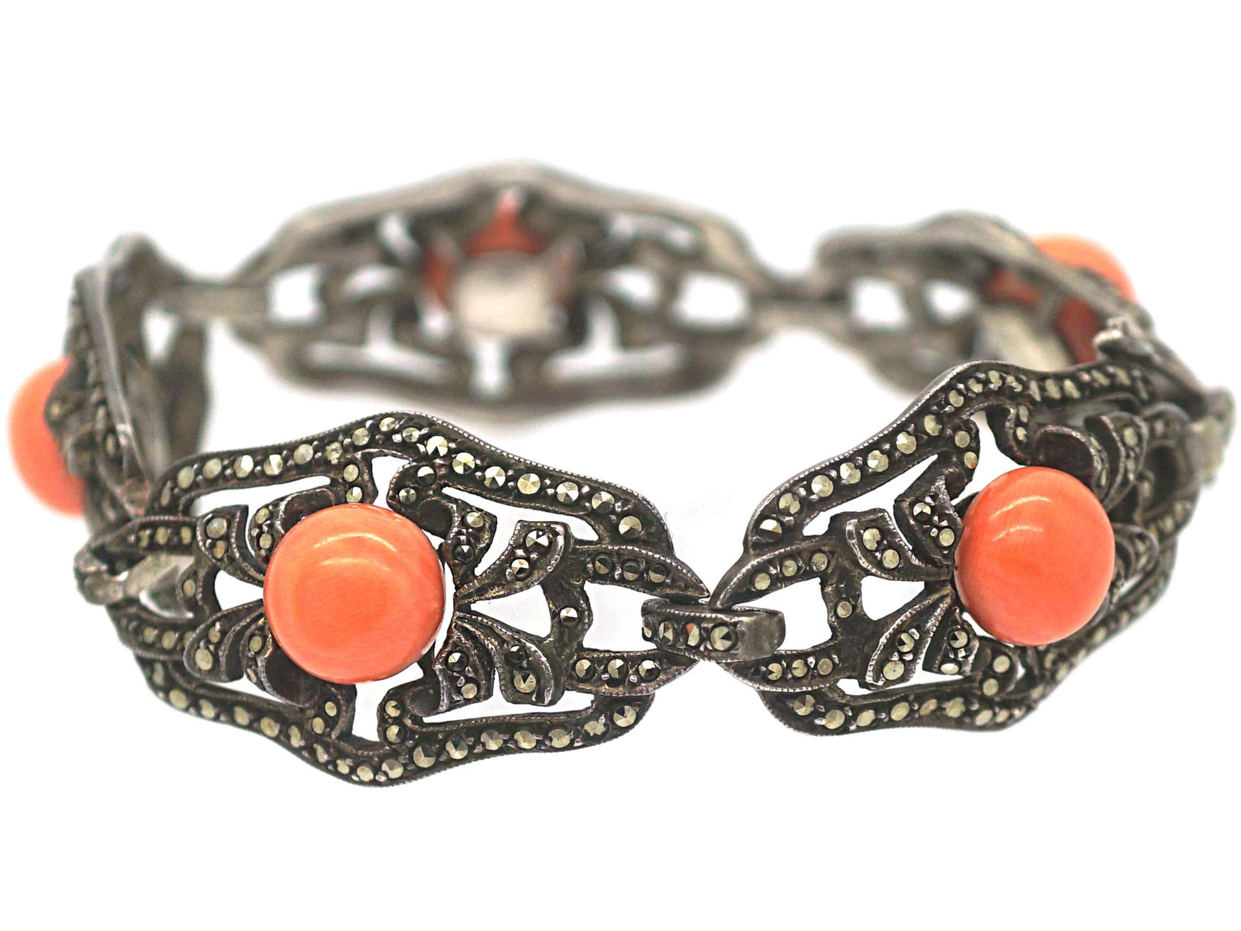 Art Deco Silver, Marcasite & Coral Bracelet