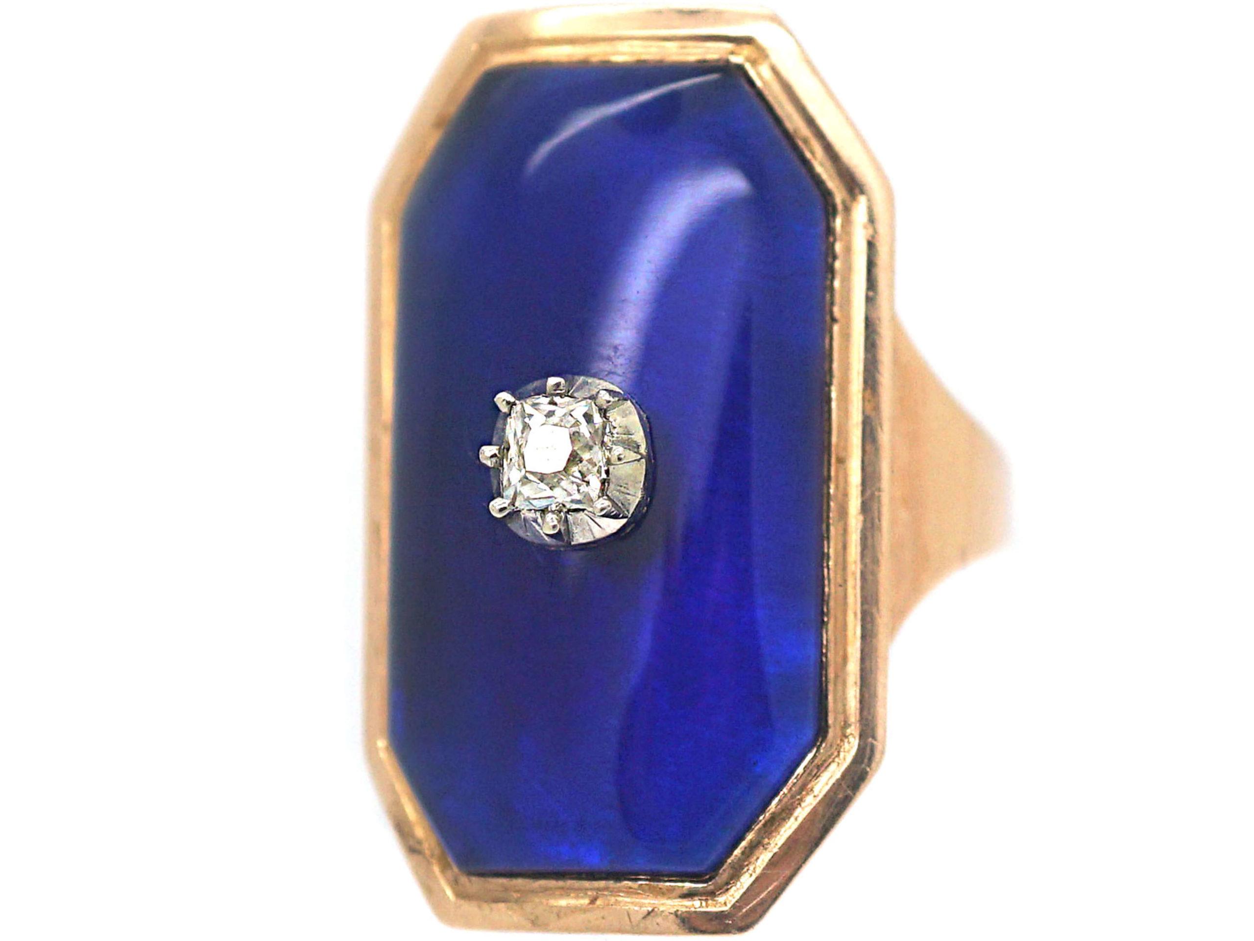 Georgian Blue Glass & Old Mine Cut Diamond Bague au Firmament Ring