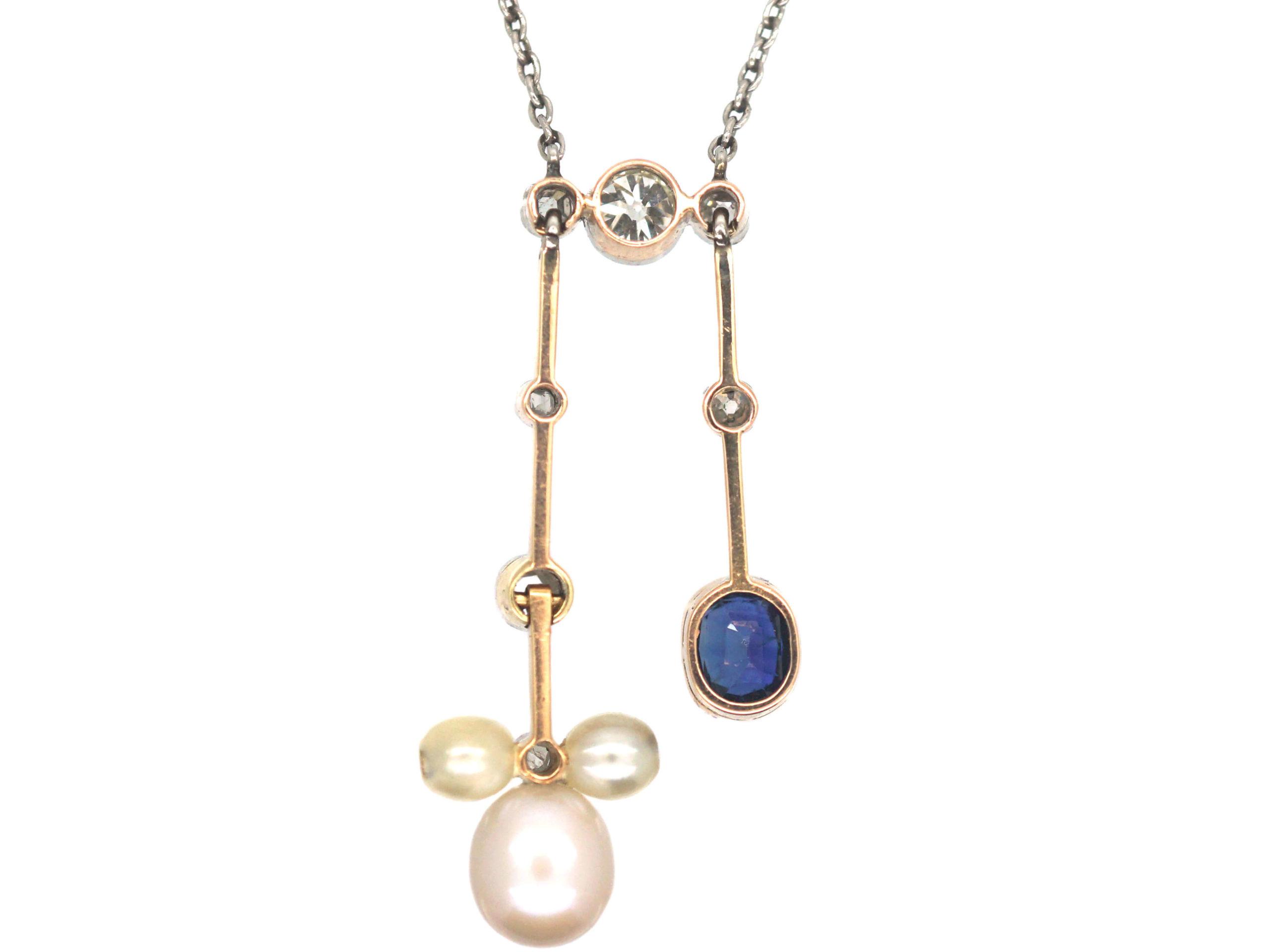 Art Deco 18ct Gold & Platinum, Sapphire, Diamond & Natural Pendant Negligee Pendant