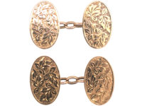 9ct Gold Cufflinks with Engraving of Leaves