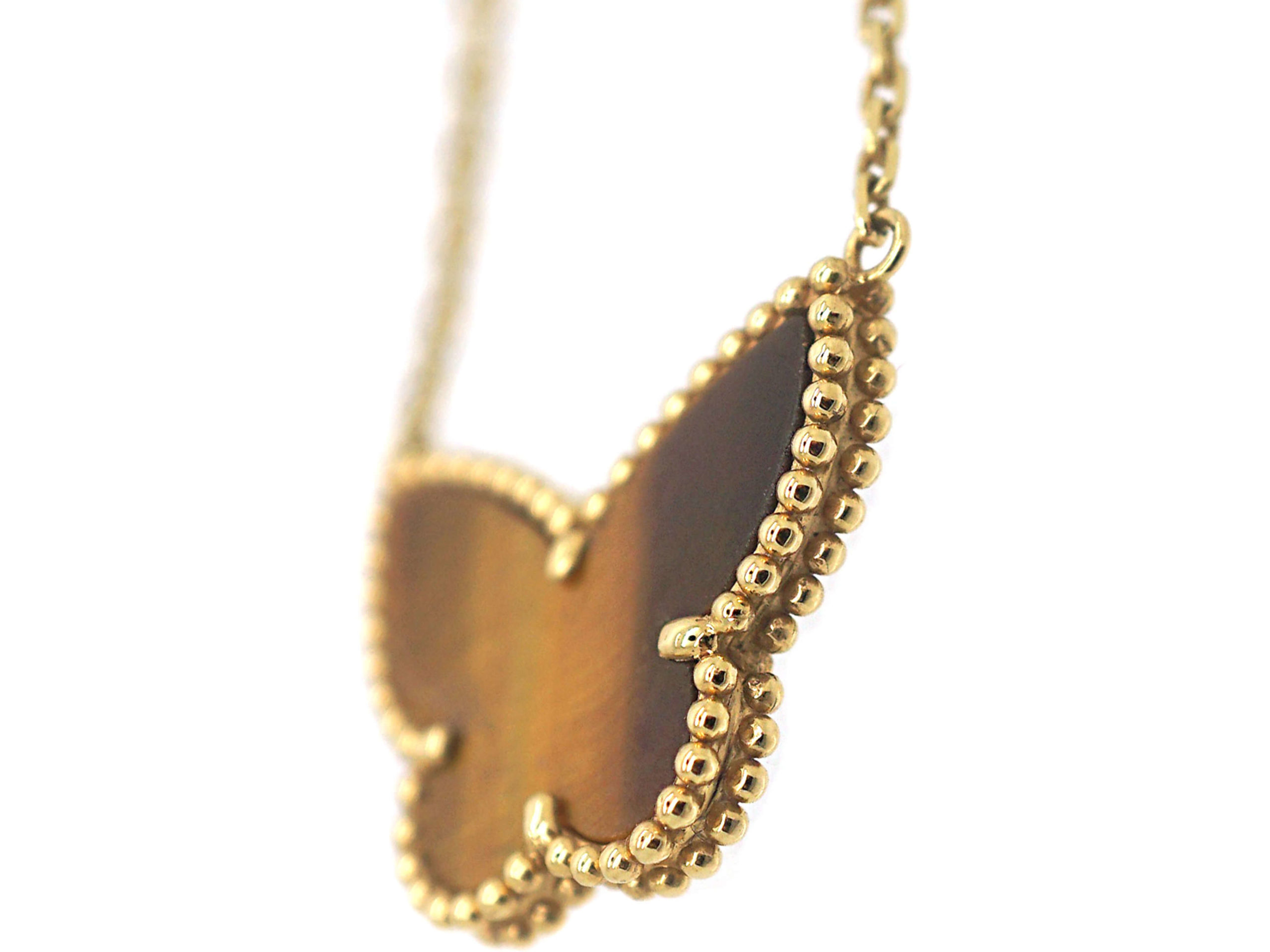 18ct Gold & Tiger's Eye Butterfly on 18ct Gold Chain by Van Cleef & Arpels