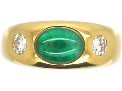 18ct Gold Cabochon Emerald & Diamond Rub Over Ring