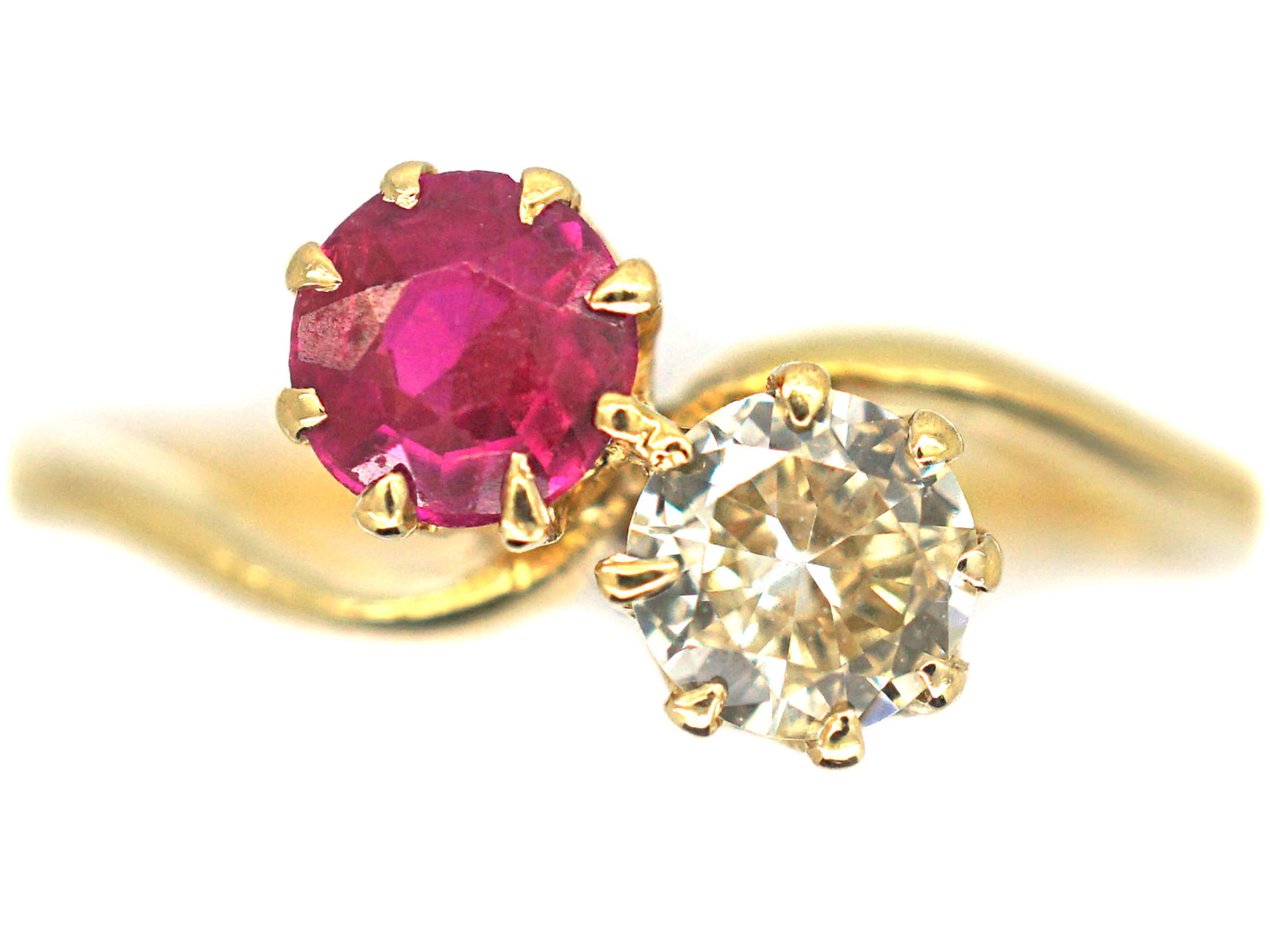 Edwardian 18ct Gold, Pink Sapphire & Diamond Crossover Ring