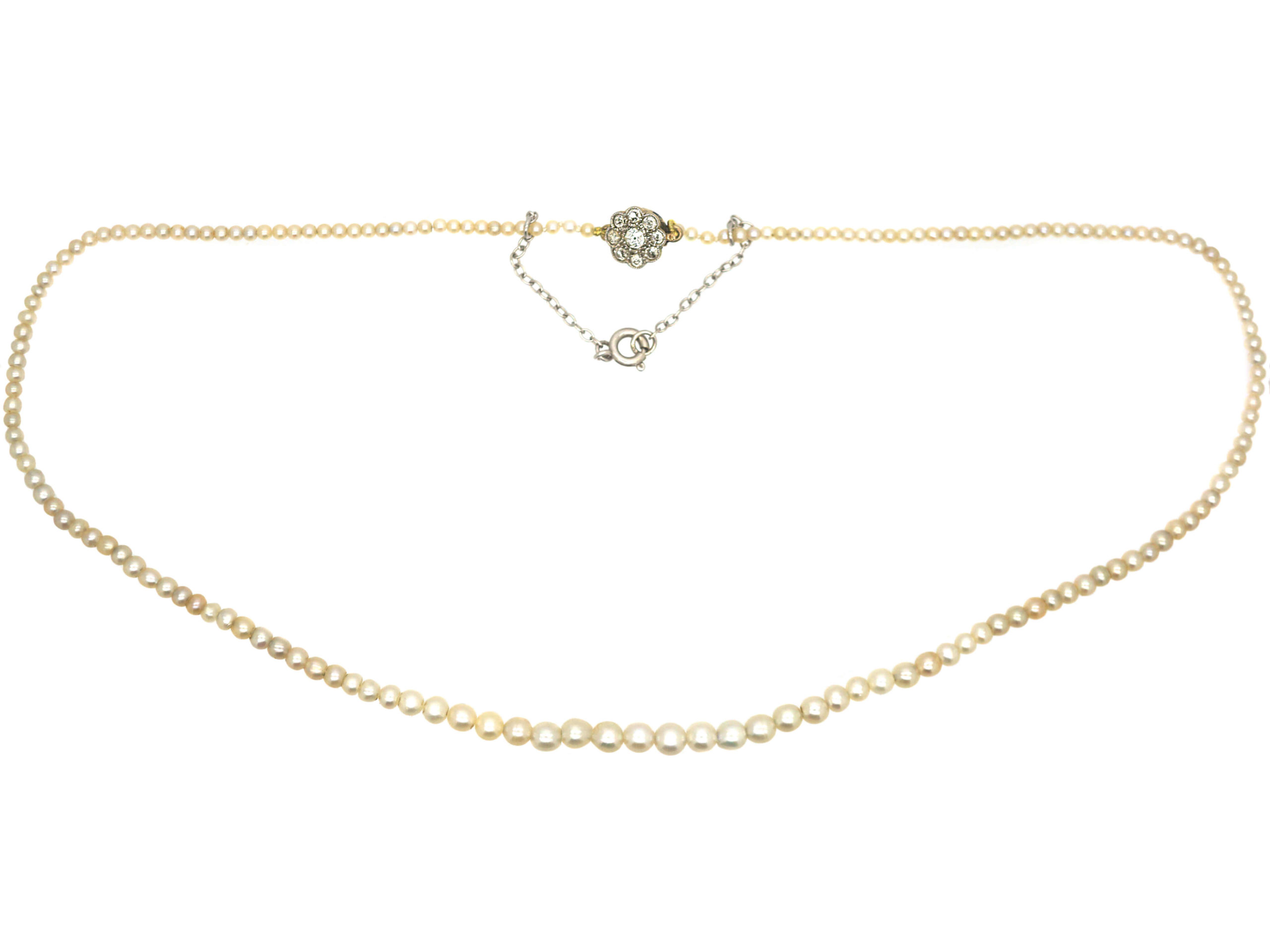 Edwardian Natural Pearl Necklace with Diamond Set Cluster Clasp