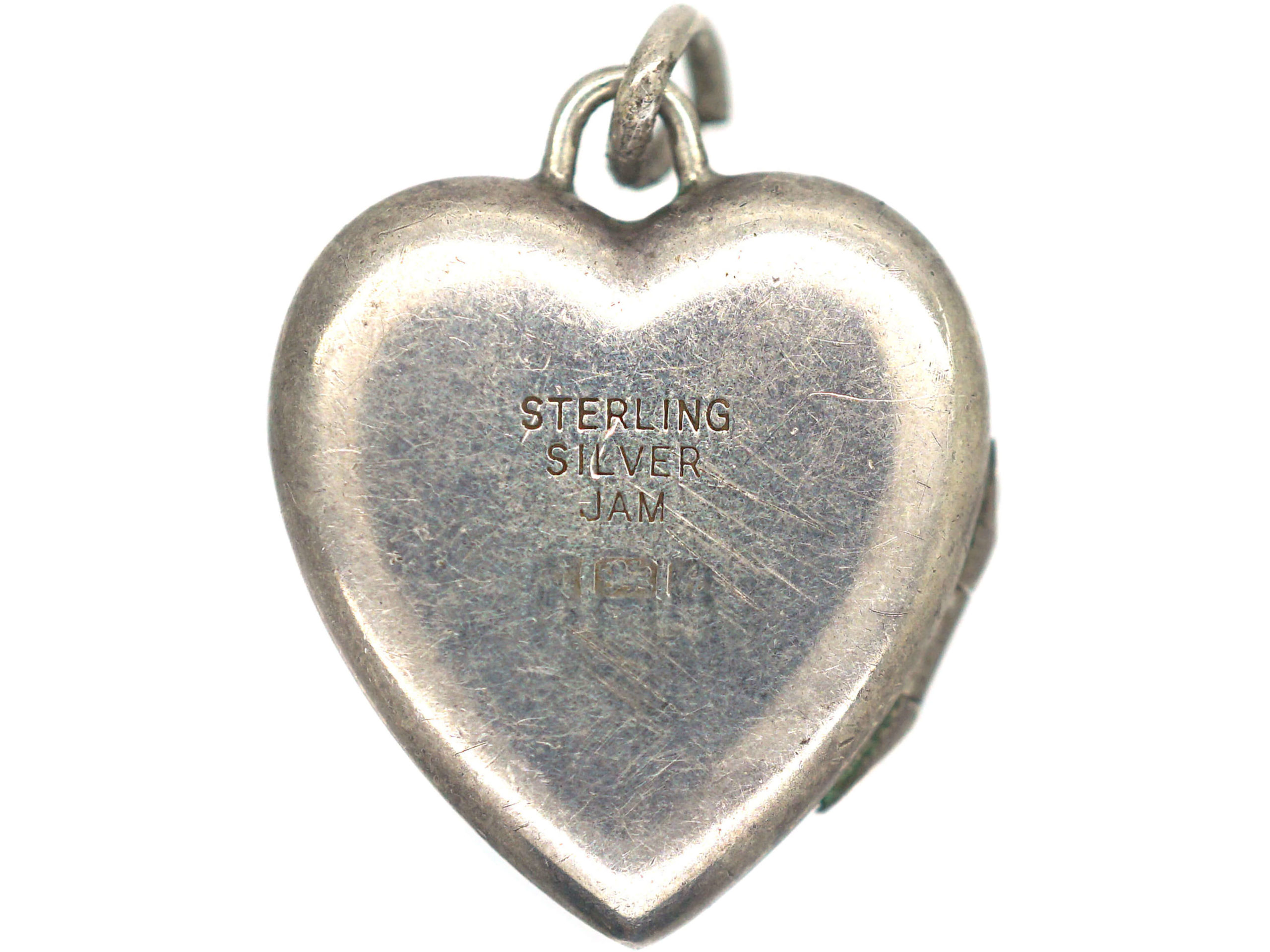 Silver Heart Shaped Locket with Engraved leaf Motif