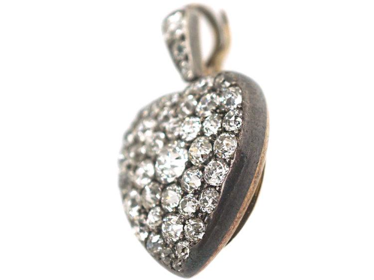 Edwardian Heart Shaped Pendant Pavé Set with Diamonds