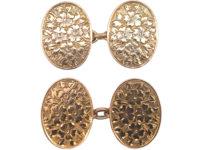 Victorian 9ct Gold Cufflinks with Floral Design