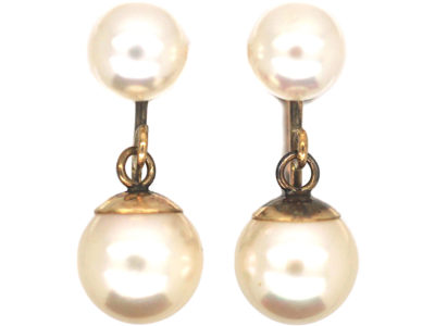 9ct Gold & Cultured Pearl Earrings with Screw Back Fittings