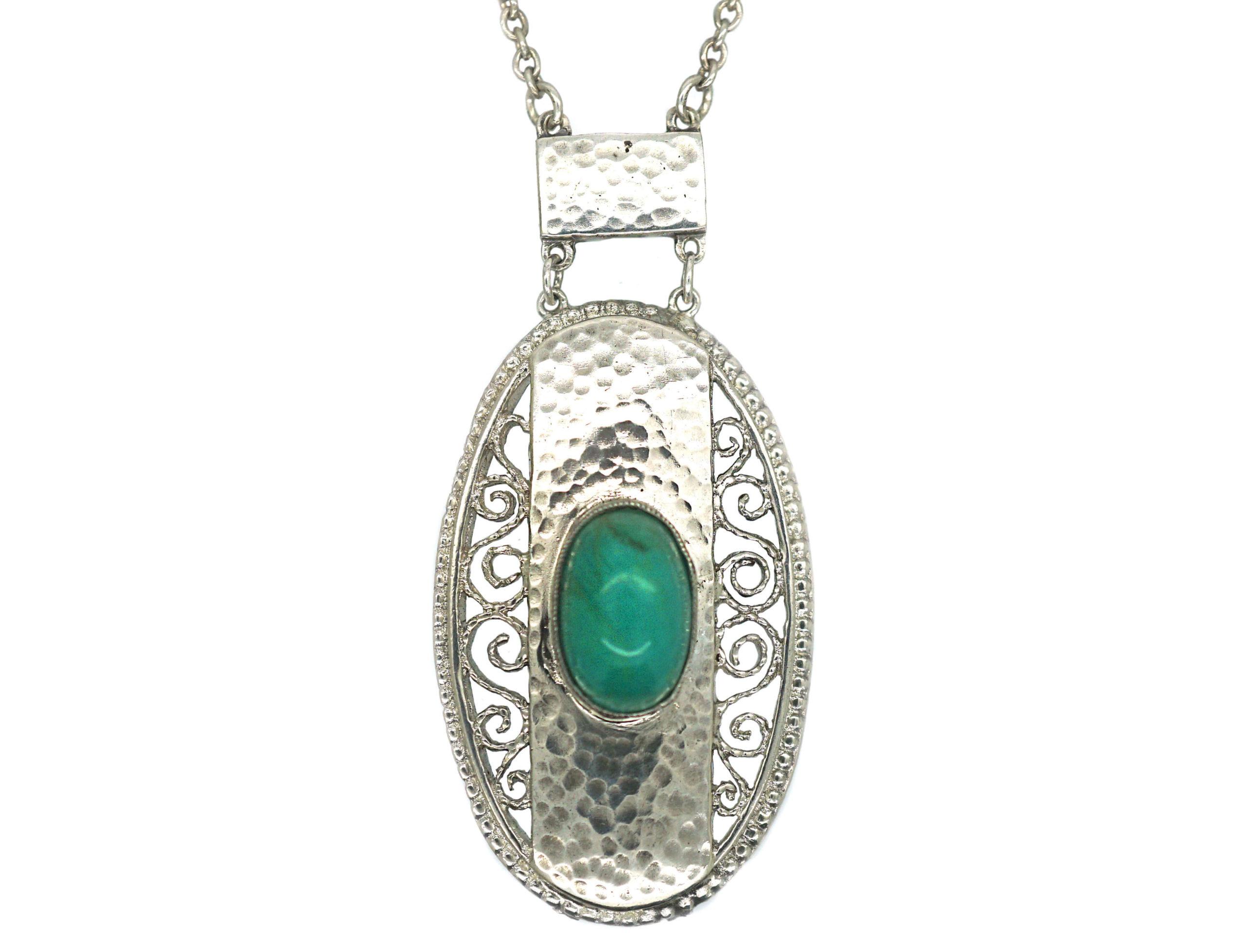 Art Deco Silver & Amazonite Pendant on Silver Chain