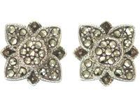 Silver & Marcasite Flower Earrings