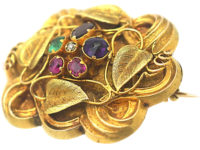 Regency 15ct Two Colour Gold Brooch set with Gemstones that Spell Regard