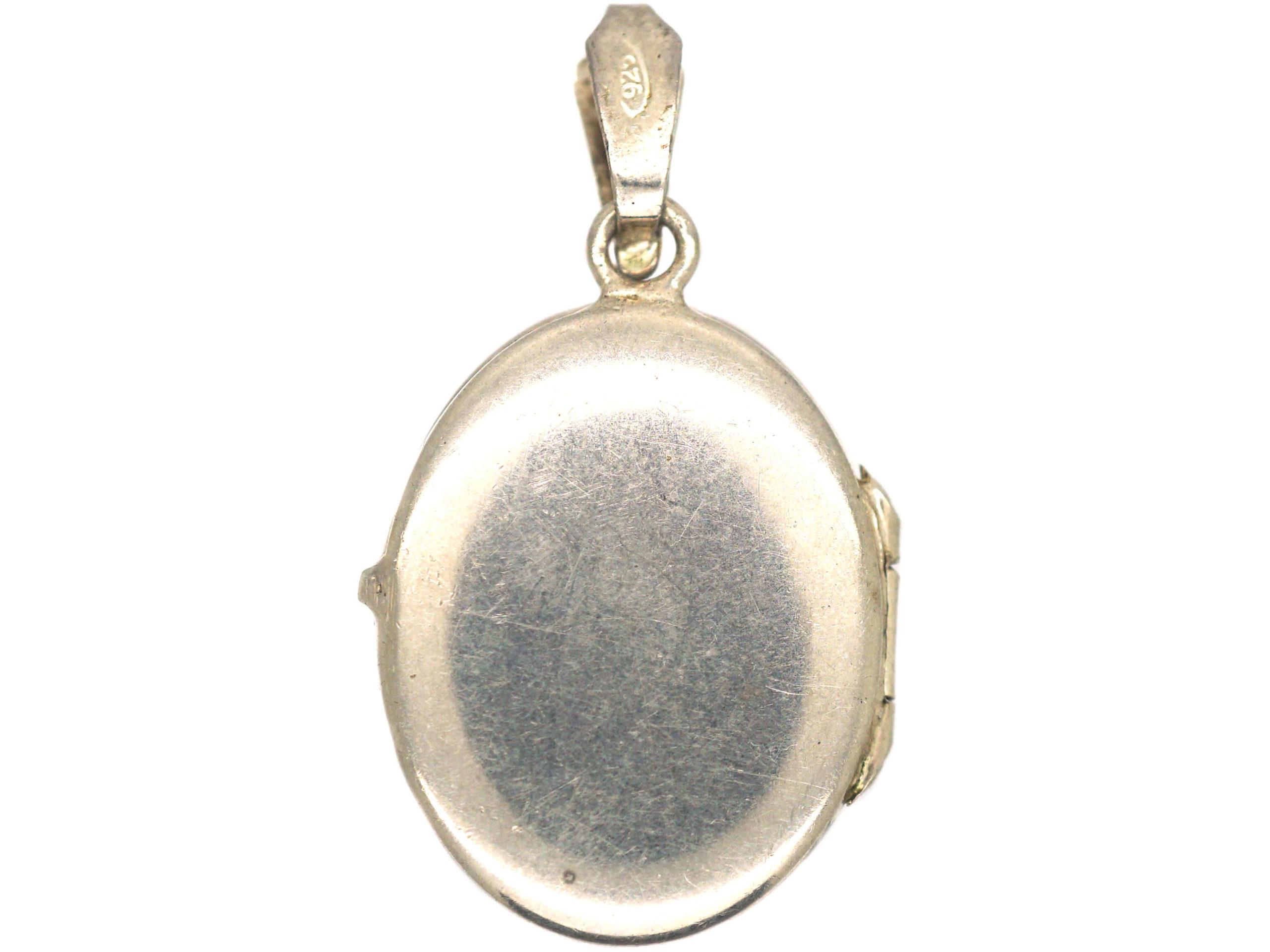 Silver Oval Locket with Leaf Design