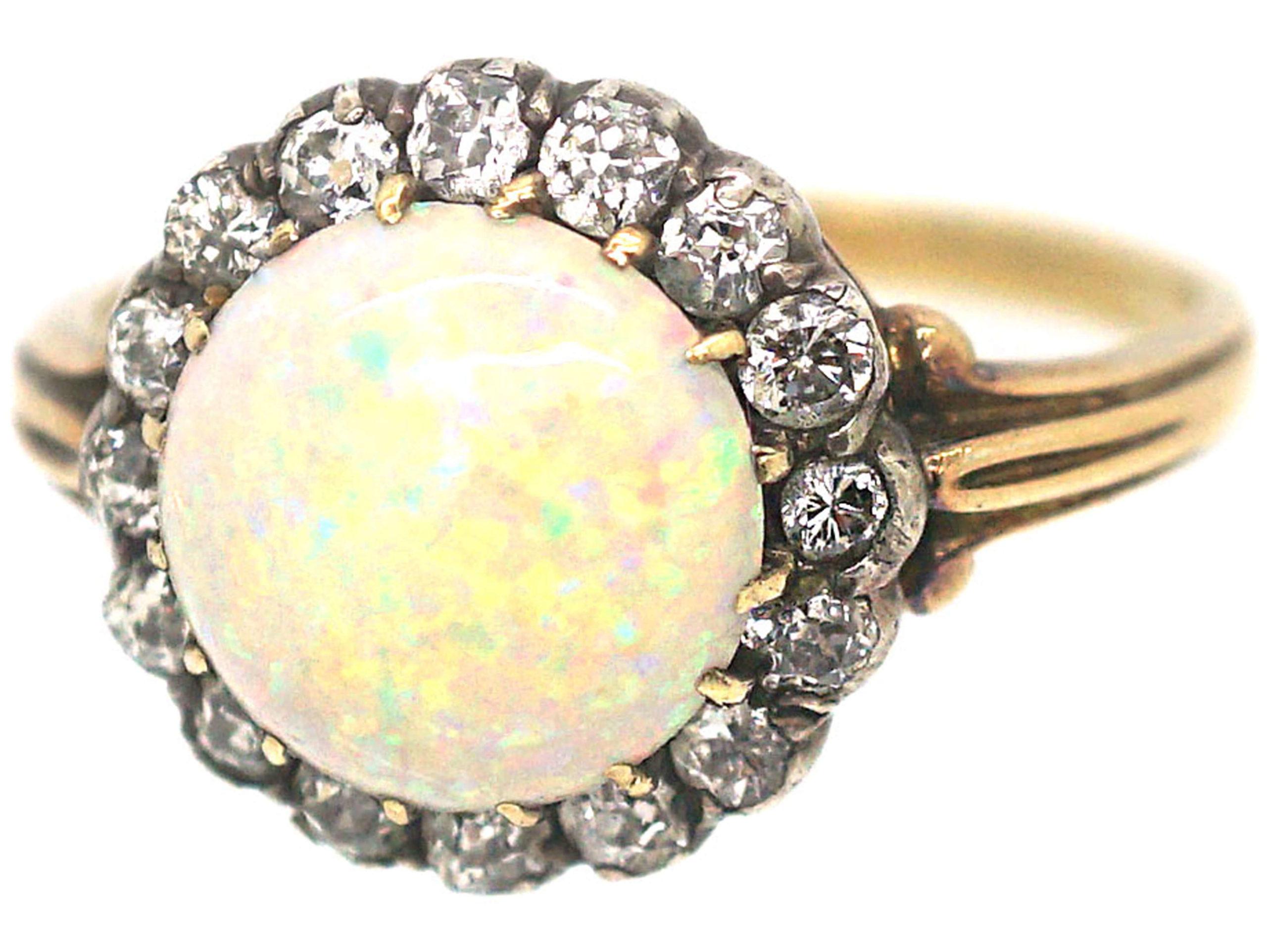 Edwardian 18ct Gold, Opal & Diamond Ring