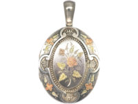 Victorian Silver & Gold Overlay Locket with Spray of Roses Motif