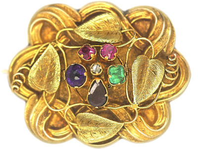 Regency 15ct Two Colour Gold Brooch set withGemstones that Spell Regard