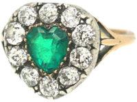Victorian 18ct Gold, Emerald & Diamond Heart Shaped Ring