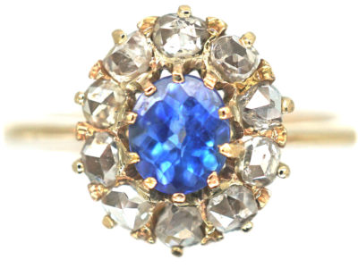 Edwardian 18ct Gold, Rose Cut Sapphire & Diamond Cluster Ring