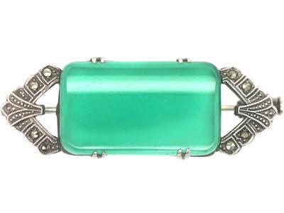 Art Deco Silver, Marcasite & Green Chalcedony Brooch
