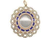 Georgian 15ct Gold, Diamond, Natural Split Pearls & Blue Enamel Pendant