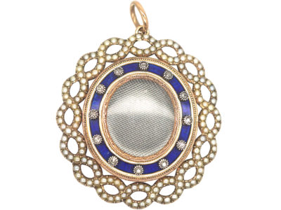 Georgian 15ct Gold, Diamond, Natural Split Pearls & Blue Enamel Pendant