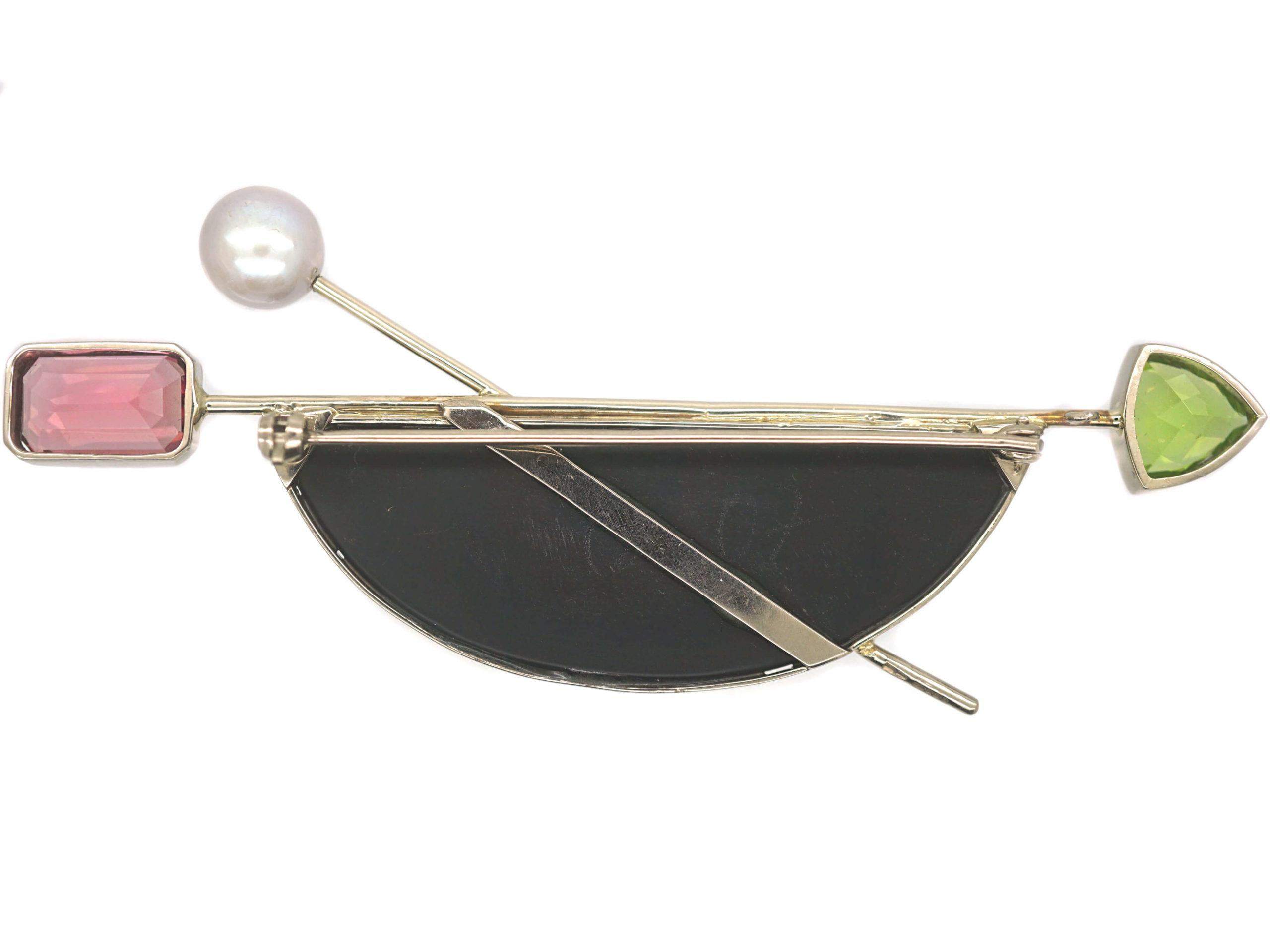 18ct Gold Druzy Quartz, Peridot, Pearl & Pink Tourmaline Brooch