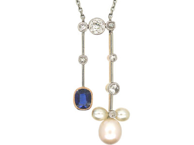 Art Deco 18ct Gold & Platinum, Sapphire, Diamond & Natural Pendant Negligee Pendant