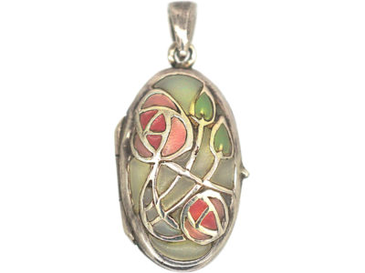 Silver Oval Plique-à-Jour Locket With Roses