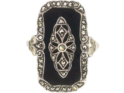 Art Deco Silver, Marcasite & Onyx Rectangular Ring