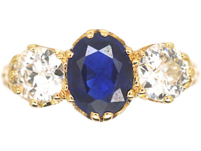 Victorian 18ct Gold, Sapphire & Diamond Three Stone Ring