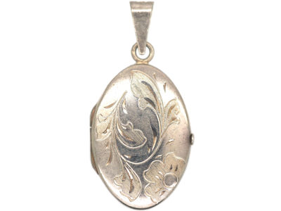 Silver Oval Engraved Locket With Flower & Swirls